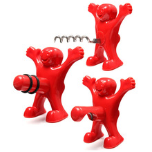 New Kitchen Bar Red Fun Happy Man Wine Beer Soda Bottle Novelty Opener Stopper Free Shiping(China (Mainland))