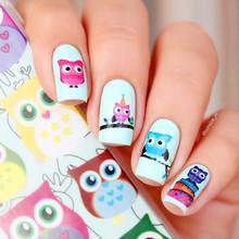 2 Patterns/Sheet Cartoon Owl Nail Art Water Decals Transfer Nails Sticker BORN PRETTY BP-W09 # 20600(China (Mainland))