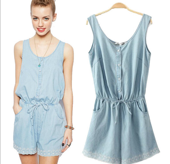 Images of Jean Romper Shorts - Reikian