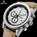 MEGIR Men Water Resistant Multifunction Casual Watch Chronograph Engraved Dial Genuine Leather Auto Date Watch Relogio