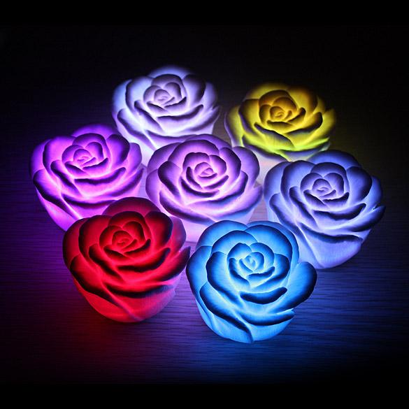 D1u led romantic rose flower color changed lamp led night for Light up flower lamp