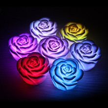 D1U#  LED Romantic Rose Flower Color changed Lamp  LED night lights Free Shipping(China (Mainland))