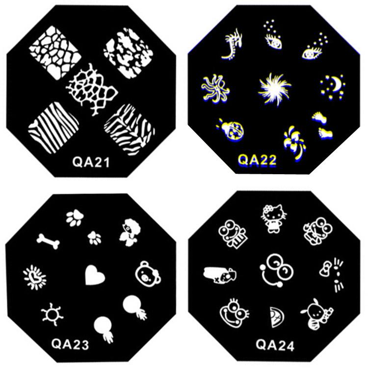 Free Shipping Single Set QA Plates + Stamper + Scrapper Stainless Metal Nail Stamping Image Kits(China (Mainland))