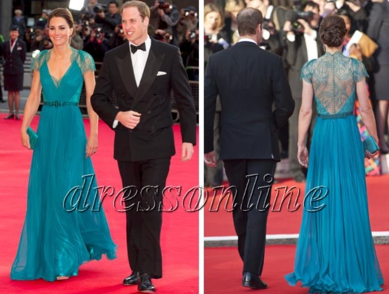 Upscale Kate Middleton in Jenny Packham Blue Gown In Olympic Concert Lace Evening Party Gowns Long Celebrity Dresses(China (Mainland))