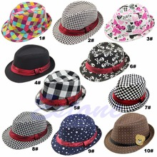 New Hot 9 Styles Kid Boy Girl Fashion Flat Top Fedora Cap Sun Hat Blues Jazz Dance(China (Mainland))
