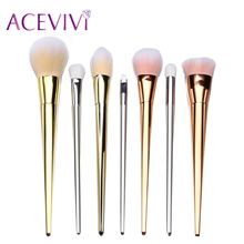 7 Pcs Professional Cosmetic Foundation Powder Brushes Face Makeup Brush Powder Brush Gold+Silver+Rose Gold 31