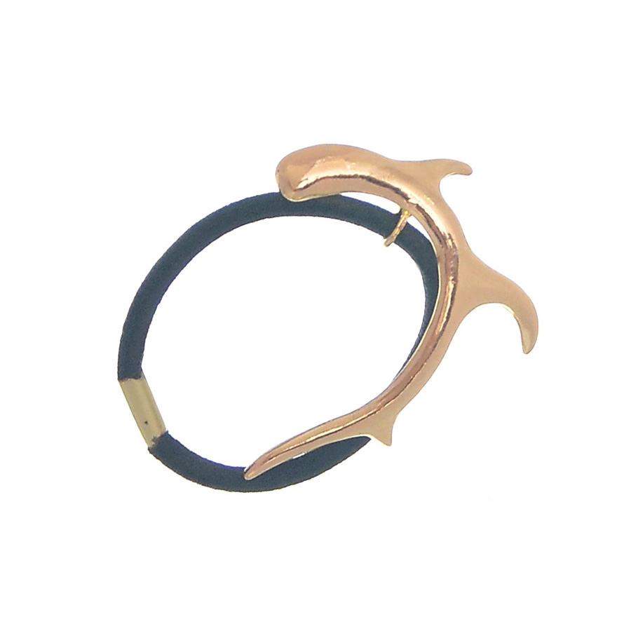 Hot Sale Fashion Black Elastic Ponytail Holders Hair Accessories Gold Plated Deer Horn Rubber Band For Woman Gift JF305(China (Mainland))