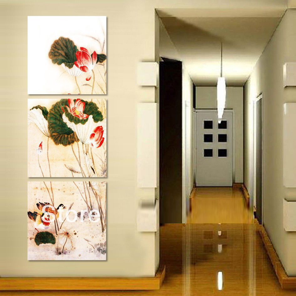 Traditional Home Garden Decor With Flower Flower Ink Painting Famous Traditional Wash Painting With Lotus Flower