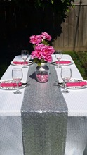 Most Cheap!!!  Silver Sequin Table Runner For Wedding/Event/Party/Banquet/Christmas Decoraitons 30cm by 180cm(China (Mainland))