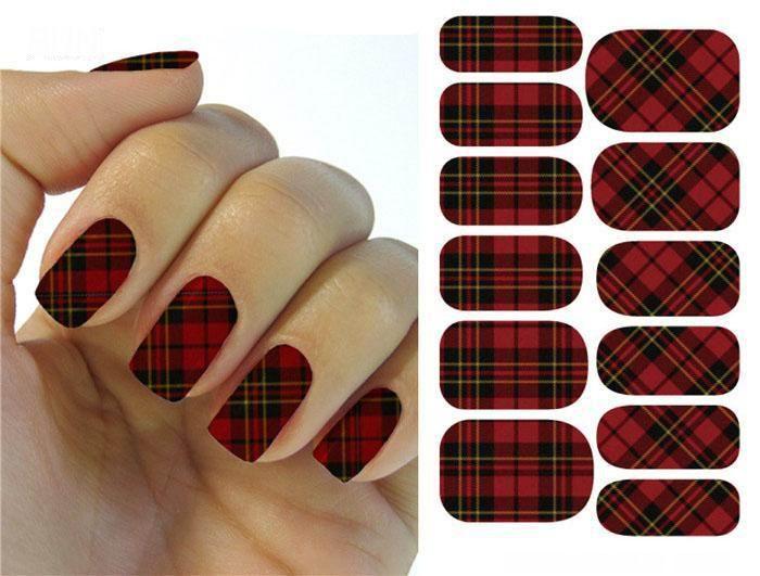 Гаджет  Water Transfer Foils Nail Art Sticker Scotland Style Scarlet And Black Plaid Design Manicure Decals Nail Decorations Patch  None Красота и здоровье