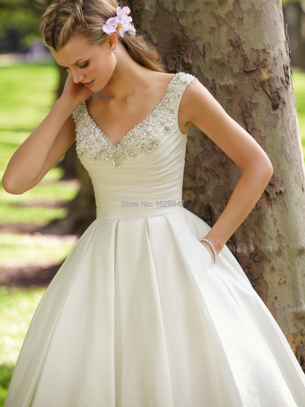 Free shipping short wedding dress robe de mariage romantic for Inexpensive short wedding dresses