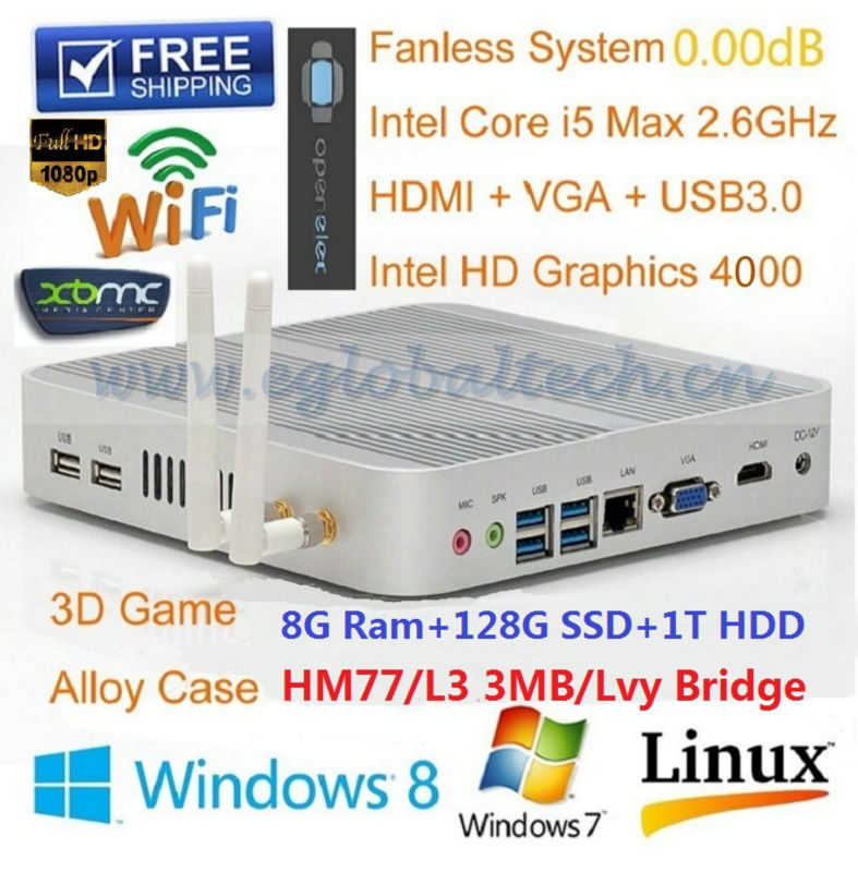 Best Performance Mini PC i5 Processor With 8GB DDR3 128GB SSD 1TB HDD Support 3D Game Full 1080P XBMC HTPC Fanless Computer(China (Mainland))