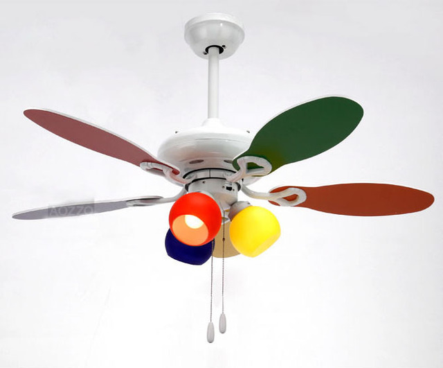 Free shipping Colorful Kid's Bedroom Ceiling Fans Light 75cm Wooden flabellum 3 Lights Modern 3 Gears cord pull Switch Ceiling