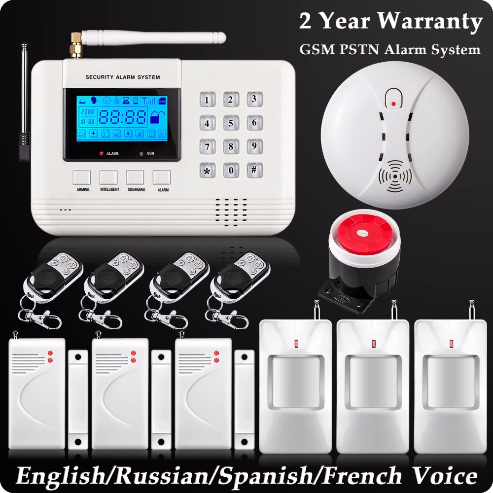 Фотография Dual Network Wireless LCD GSM PSTN Home Alarm  Security DIY Burglar House Wireless Smoke Detector English/Russian/Spanish Voice