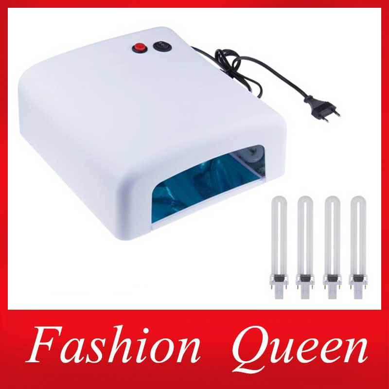 Professional 36w White EU Plug UV Lamp 220v Gel Curing Nail Art Light Nail Dryer with 4pcs 365nm Bulb(China (Mainland))