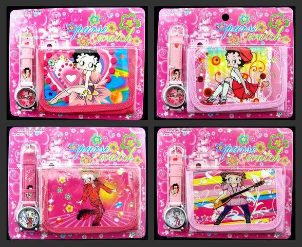 New 12 Sets Betty Boop Watches and Wallets Sets Children Party Favors D43(China (Mainland))