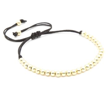 100% марка мужчины браслеты, 18 К золото 4 мм круглые бусины плетение макраме браслет ...