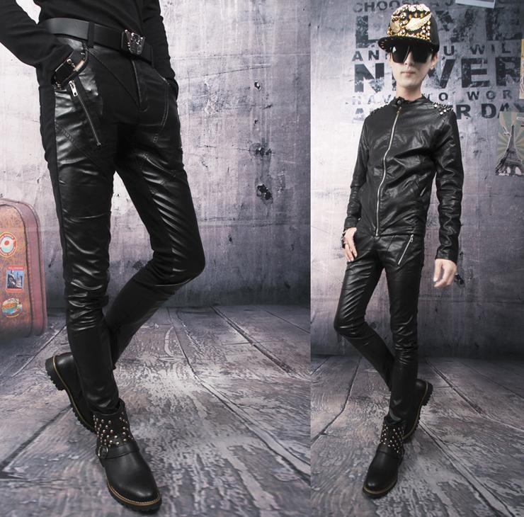 Autumn black zipper Motorcycle pants men street leather pant slim mens splice 1 trousers pantalones hombre - Fashion clothes store wang