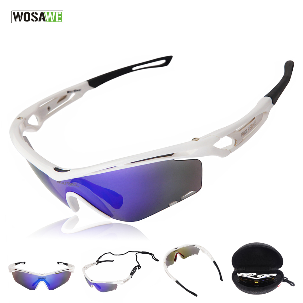 WOSAWE Unisex Detachable Polarized Cycling Sunglasses Set Men's Outdoor Sports Bicycle Glasses Cycling Eyewear with 3 Lenses(China (Mainland))