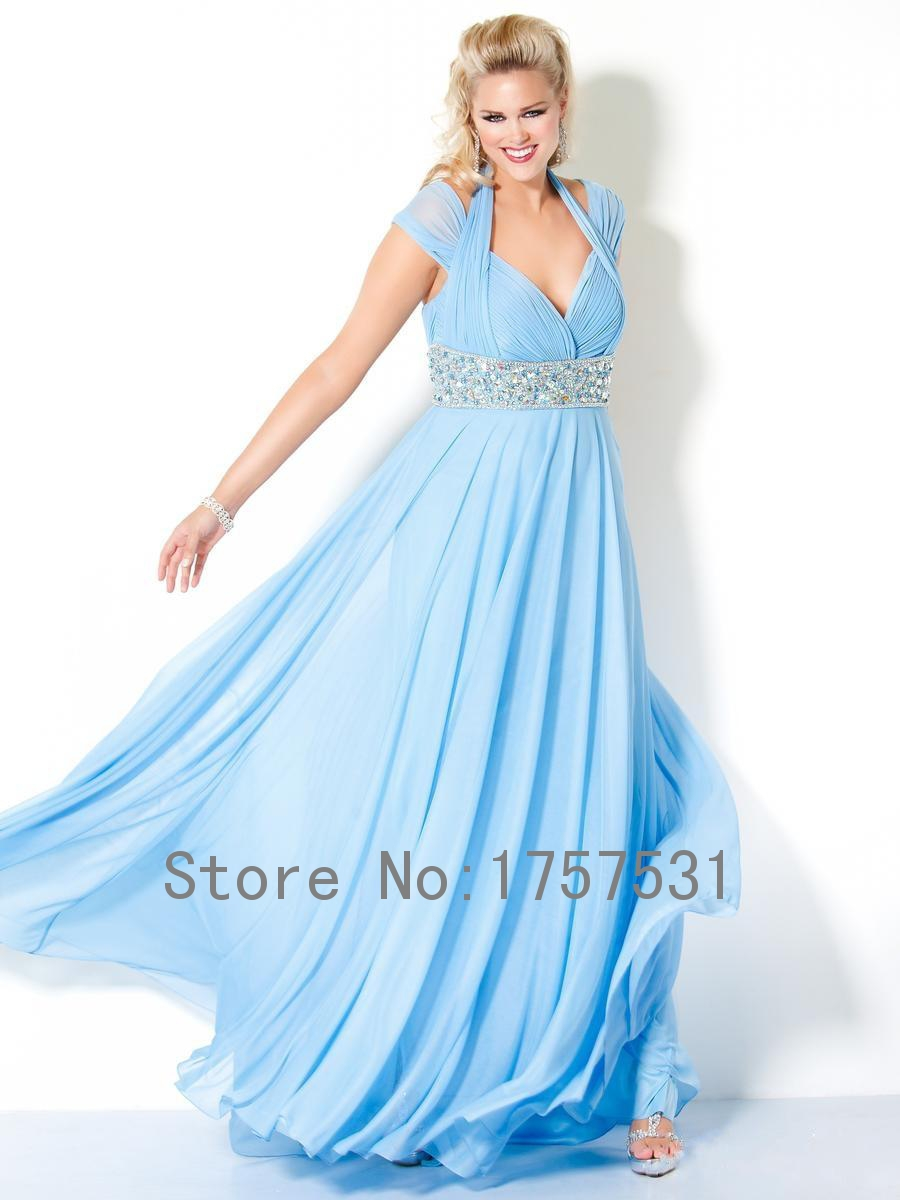 2015 new arrival light blue hater long plus size for Blue long dress wedding