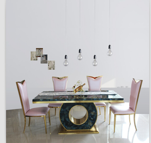 Dining table set with good quality marble dining table black &rose gold color 4 chairs(China (Mainland))