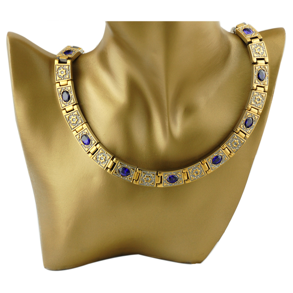2014 vintage crystal sport health titanium magnetic therapy womens big chunky gold necklace(China (Mainland))
