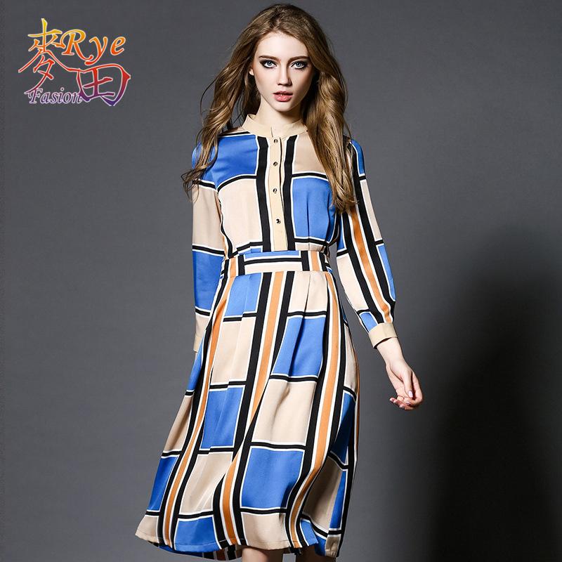 Women Plaid Dress 2016 Summer Three Quarter Sleeve Blue Beige Stand Collar Tunic Elegant Chiffon Dress