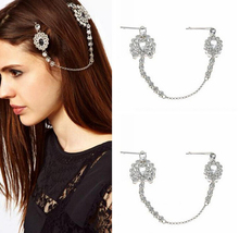 Bride Hair Pin Cuff Wrap Silver Crystal Flower Drop Chain Hairpin Indian Head Jewelry