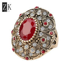 Exaggerated Big Ring Women Vintage Oval Ruby Rings Retro Gold Plated Jewelry AAA Resin ZK J0248 New Anillo