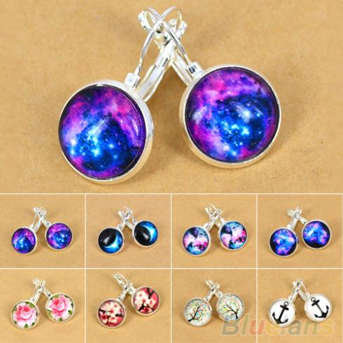Women's Galaxy Space Silver Plated French Lever Back Drop Dangle Earrings  2KC5