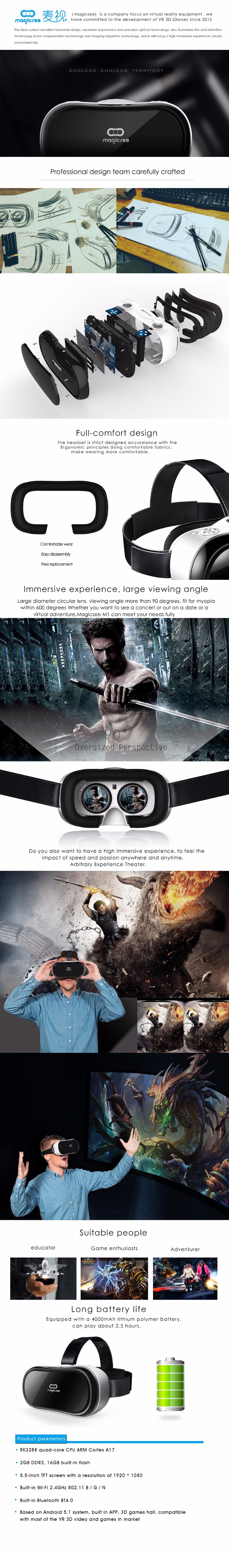 ถูก 2016ใหม่Magicsee M1 3Dแว่นตาทั้งหมดในหนึ่งVR Android 5.1ความจริงเสมือนRK3288 Quad Core 5.5นิ้วVRกล่องแว่นตา3Dภาพยนตร์เกม