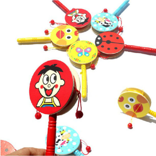 Hot Baby Kids Cartoon Animal Hand Bell Toy Wooden Rattle Drum Musical Instrument Random Colors(China (Mainland))