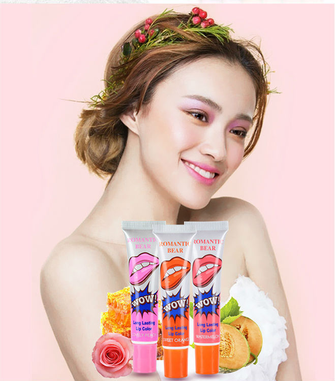Romantic Bear Make Up 12ml Tint WOW Long Lasting Tint Lip Peel Off Lipstick Fulllips Lip Gloss Tatto Maquiagem(China (Mainland))