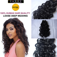 "Janet Collection Encore Loose Deep Weaving Hair Color1#1B# 10""12""14""16""18"" True Hair Mix Kanekalon Futura Fiber Curly Weaves"