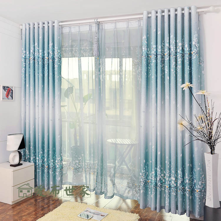 Home Textile L2.5m*W1m Customize Bedroom Curtain Window Screening Jacquard Printed Blinds Cloth Flower Feather Tree Pictures(China (Mainland))