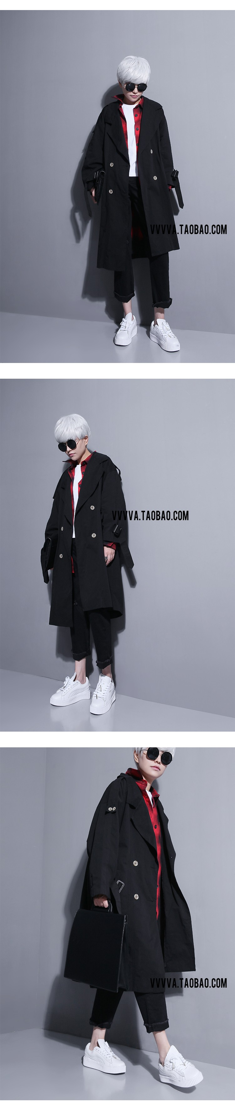Women South Korea University Design Double Breasted Trench Coat Explosive Temperament Trench Clothing Black White Khaki
