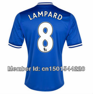 Top Quality #8 lampard 13-14 chelsea home blue football Jerseys Shirts 2013-2014 chelsea home soccer Jerseys(China (Mainland))