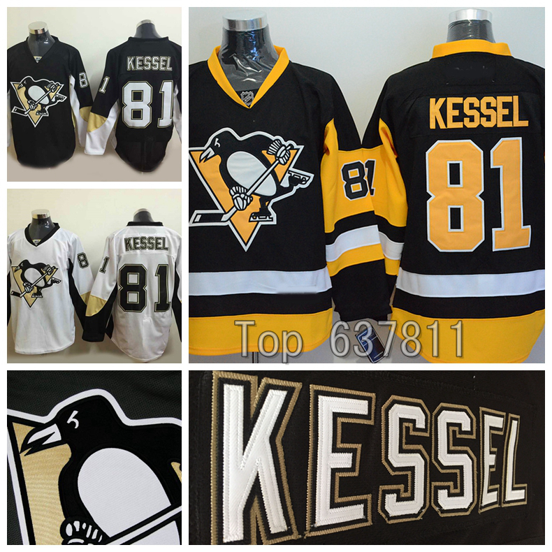 2015 Pittsburgh Penguins Phil Kessel Jerseys Authentic Home Black White Alternate Cheap #81 Phil Kessel Stitched Hockey Jersey(China (Mainland))