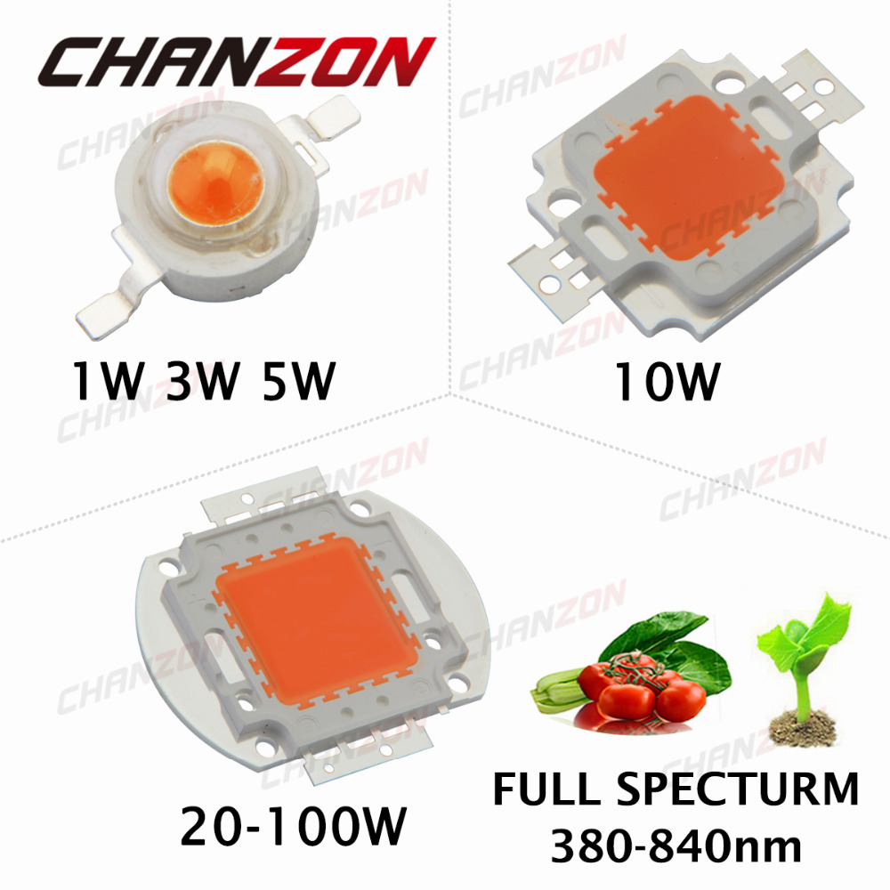 High Power LED Chip Full Spectrum Grow Light Epistar COB Beads 1W 3W 5W 10W 20W 30W 50W 100W 380nm - 840nm for DIY Plant Growing(China (Mainland))
