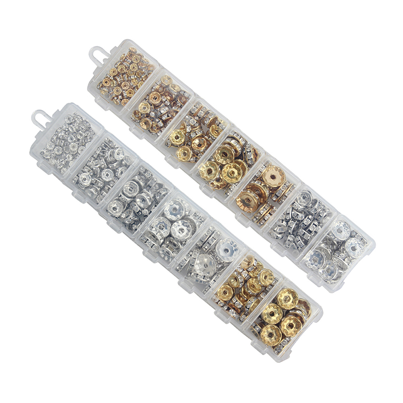 1Box/lot Mix 6/8/10/12mm Dia Gold/Silver Plated Metal Rondelle Spacer Beads Rhinestone Loose Crystal Beads Jewelry Making F3747(China (Mainland))
