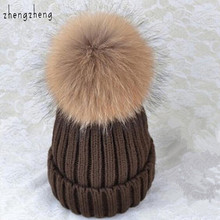 mink and fox fur ball cap pom poms winter hat for women girl 's wool hatknitted cotton beanies cap brand new thick female cap(China (Mainland))