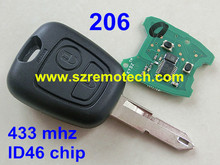 Free Shipping 2 Buttons Fit For Peugeot 206 remote key control 434mhz with ID46 transponder chip NE73 blade
