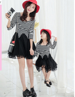 Mother And Daughter Spring Summer Dress Girls Striped Lace Patchwork Dresses Fashional Family Matching Clothes