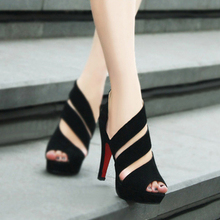 Discount cheap black gladiator peep toes sexy red bottom high heels sandals Pumps women shoes spring summer 2013(China (Mainland))