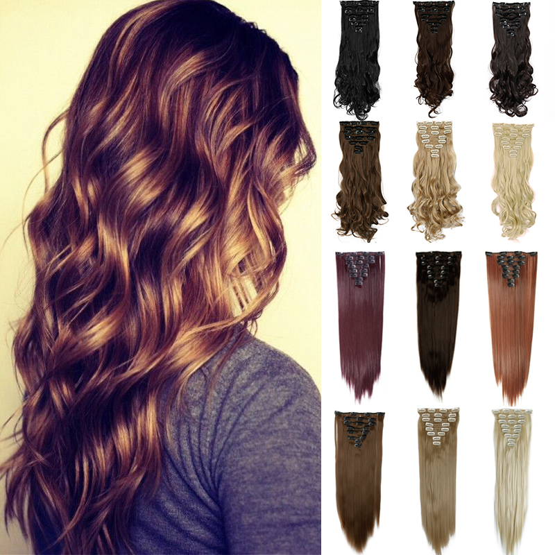"""17""""(43cm) 8pcs/set 170g Long Curly Synthetic Hair Clip in on hair extensions mega hair(China (Mainland))"""
