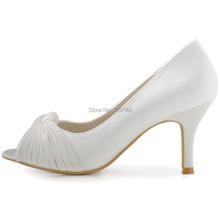 ElegantPark HP1557 Women Pumps Peep Toe White Ivory Knots High Heel Satin Wedding Bridal Shoes