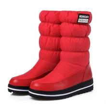 ALLBITEFO yeni Rusya kış sıcak kar botları kadın pamuk aşağı ayakkabı su geçirmez botlar kürk platformu orta buzağı çizmeler siyah(China)