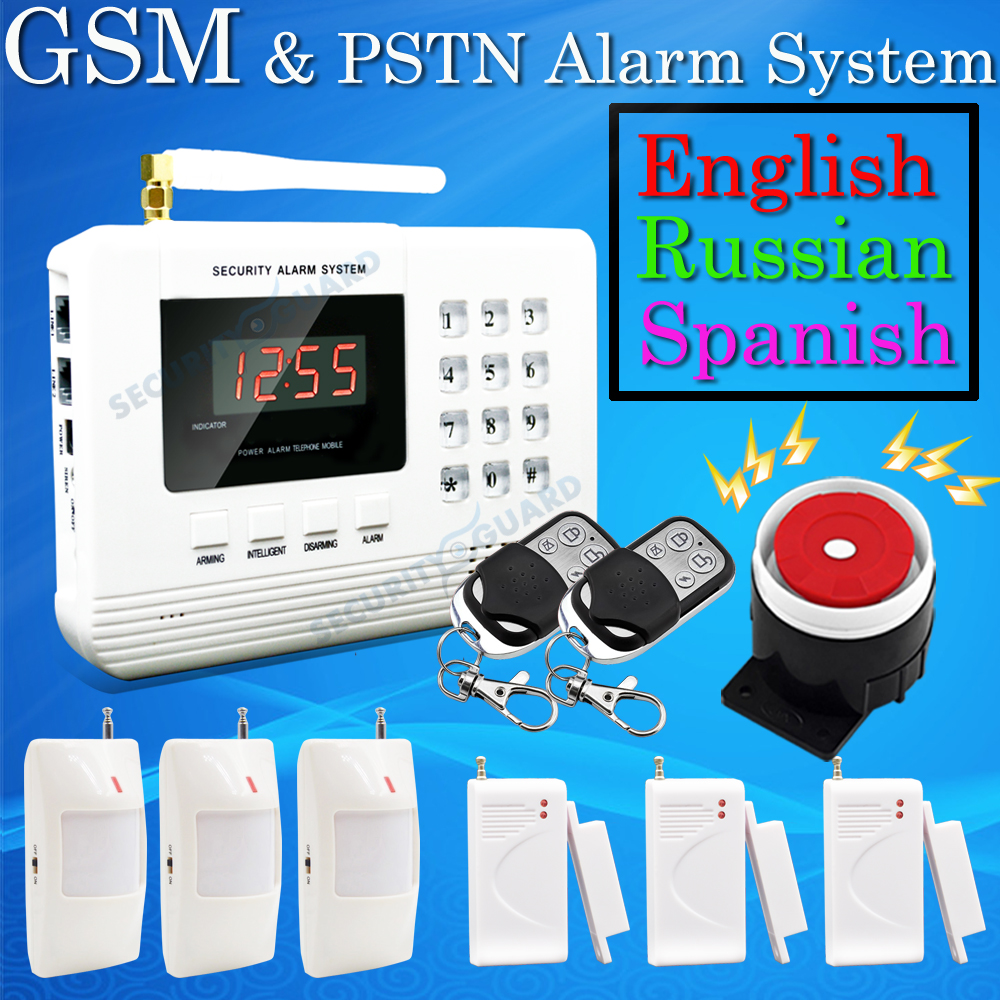 Hot Selling Free Shipping wholesale Wireless PSTN GSM Alarm System 433MHz Home Burglar Security Alarm System 2-2(China (Mainland))