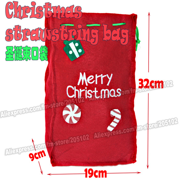 15pcs/lot Fashion Christmas strawstring shopping bag,red color Eco-friendly durable foldable handle bag , free shipping<br><br>Aliexpress