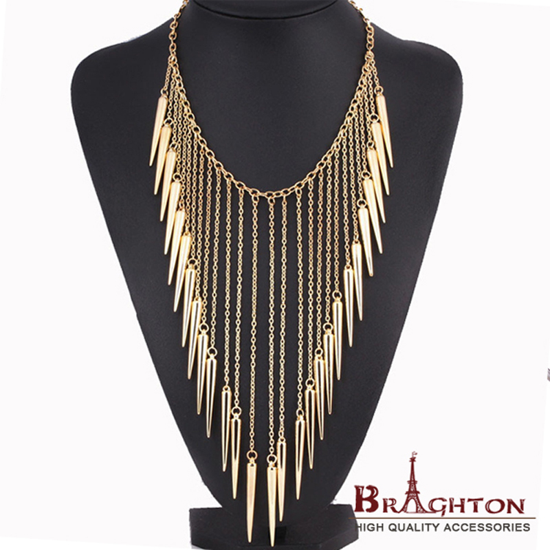 2015 New Collares Jewelry European Style Vintage Trench Fashion Necklaces Rivet Long Tassel Punk Accessories Women Free shipping(China (Mainland))